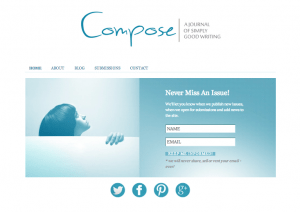 Compose: A Journal of Simply Good Writing, home page/subscribe
