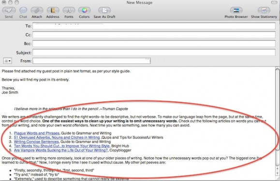 Paste Text from Visual into Email